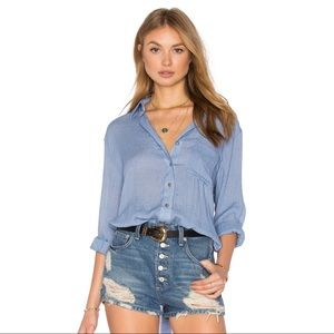 Free People That's A Wrap Blue Blouse Top Large
